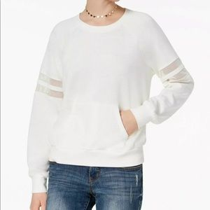 Hippie Rose Mesh Trim Ivory Sweatshirt